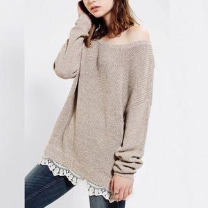 Pins & Needles sweater knit oversized taupe lace
